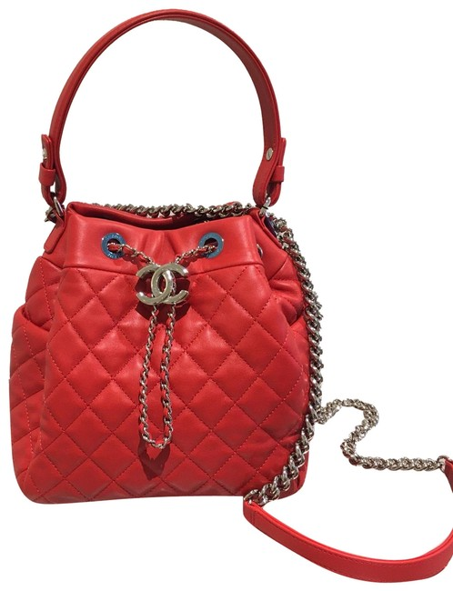 Item - Drawstring Red Lambskin Leather Hobo Bag