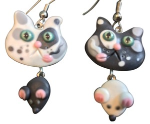 Cat Lover's Handmade Ceramic Cat and Mouse Earrings