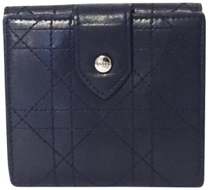 Dior Cannage stitch black leather CD snap wallet