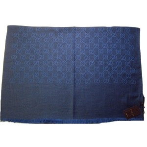 "Gucci 362654 Wool Silk Blend Denim Blue GG Guccissima Large Muffler Scarf - 78"" x 28"" Navy Blue"
