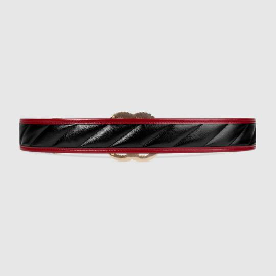 Gucci NEW GUCCI 90 cm BLACK GG TORCHON THICK WIDE BELT GOLD QUILTED Image 4