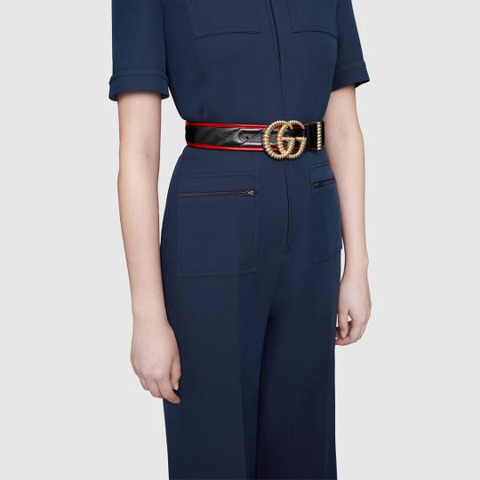 Gucci NEW GUCCI 90 cm BLACK GG TORCHON THICK WIDE BELT GOLD QUILTED Image 5