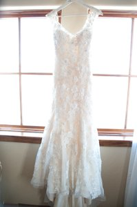 Allure Bridals Gold/Silver 3d Lace Overlay Silk Style: 9220 Vintage Wedding Dress Size 4 (S)