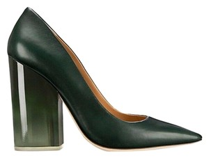 Tory Burch Leather Pointed Toe Chunky Heel Green Pumps