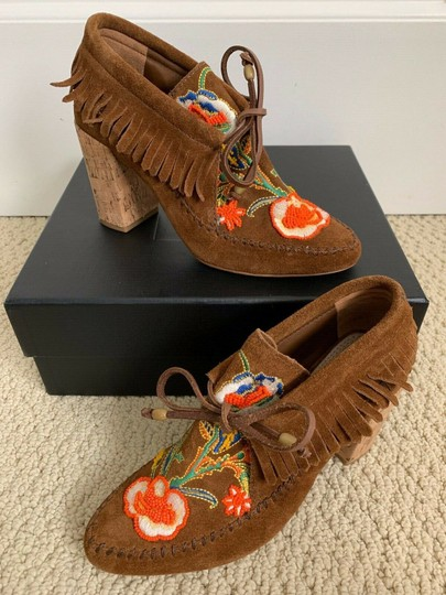 Tory Burch Beaded Embroidered Fringe Brown Boots Image 1