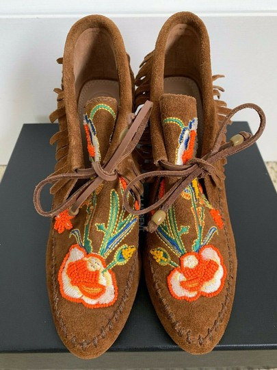 Tory Burch Beaded Embroidered Fringe Brown Boots Image 2