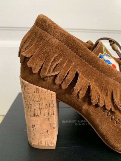 Tory Burch Beaded Embroidered Fringe Brown Boots Image 6