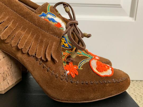 Tory Burch Beaded Embroidered Fringe Brown Boots Image 8