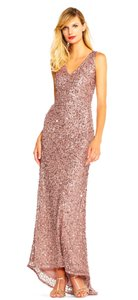 Adrianna Papell Beaded Embellished V-neck V-back Dress