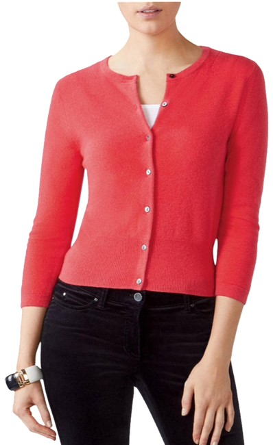 Item - Rich Coral Cropped Cashmere Cardigan Size 4 (S)