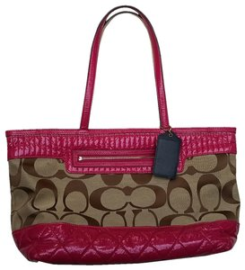 Coach Gloss Lip Gloss 18676 Poppy Tote in Pink and khaki