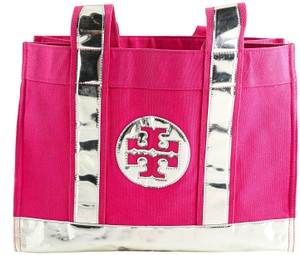 Tory Burch Silver Metallic Canvas Tote in Pink