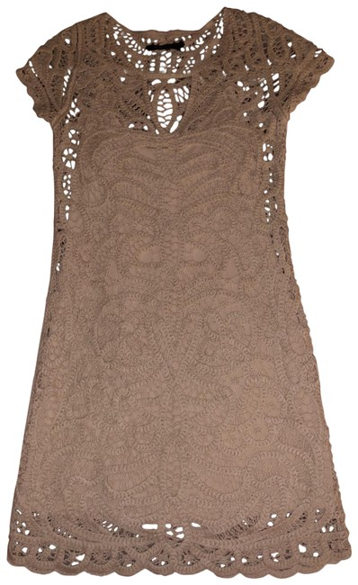 Item - Nude/Beige Knitted Lace Short Cocktail Dress Size 2 (XS)