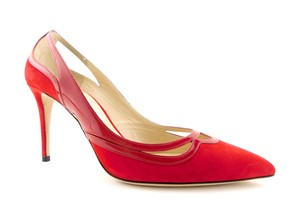 Jimmy Choo Cut Out Hickory Romy Pigalle Classic Red Pumps