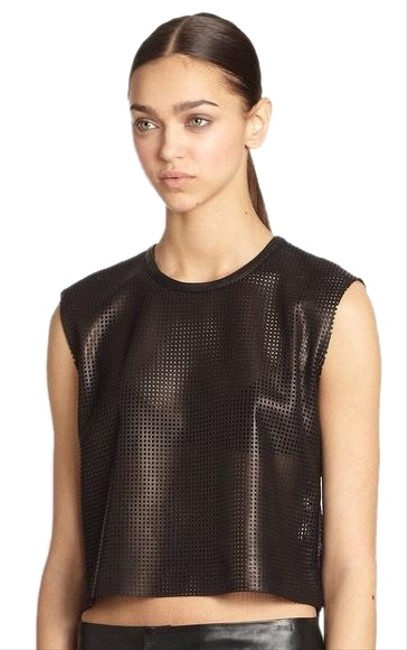 Item - Perforated Leather Black Top