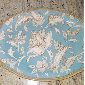 Blue Ivory Gold Trim. Hand-painted Ceramic Serving Platter Cookware