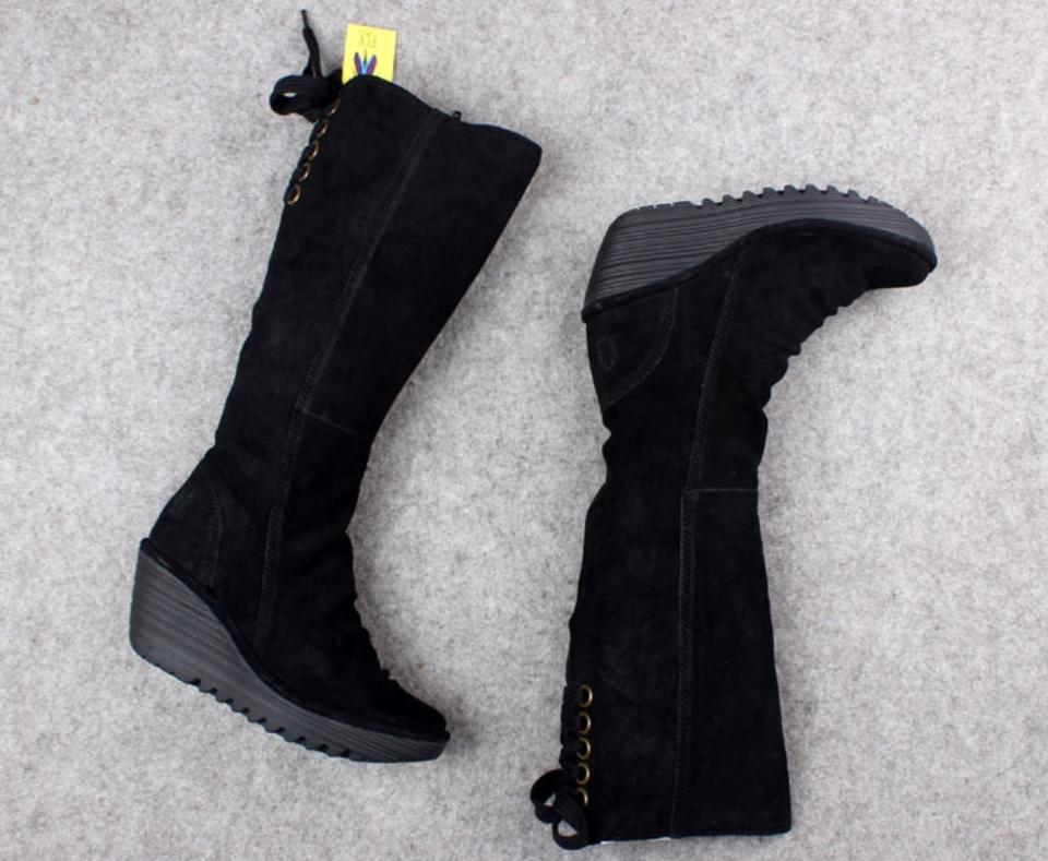 FLY London Black Box New In Yust Tall Wedge Nubuck Leather 10.5 BootsBooties Size EU 41 (Approx. US 11) Regular (M, B) 15% off retail