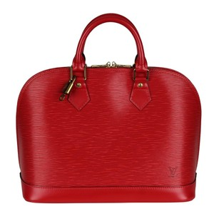 Louis Vuitton Vintage Leather Alma Classic Satchel in Red