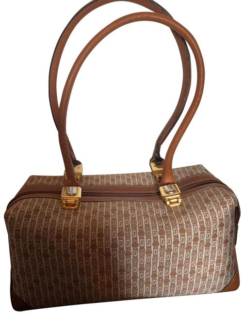 Item - Woven Tan and Ivory Canvas Leather Shoulder Bag