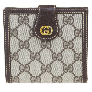 Gucci Authentic GUCCI GG Pattern Bifold Wallet Purse PVC Leather Brown Italy