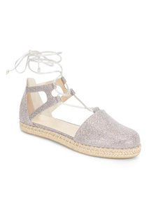 Stuart Weitzman Espadrille Flat Lace-up Chic Platform Metallic Sandals
