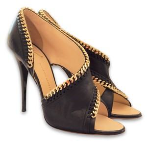 Giuseppe Zanotti Open Toe Leather Chain Stiletto Black, Gold Sandals