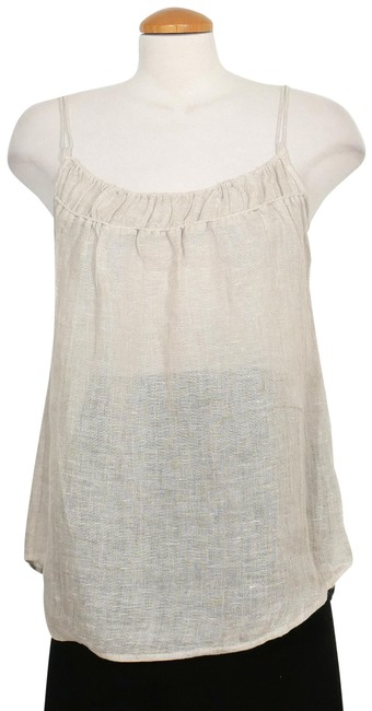 Item - Natural Beige Linen Gauze Shirred Camisole M Tank Top/Cami Size 10 (M)