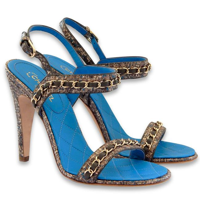 Item - Blue Grey Brown New Fantasy Python Woven Chain Cc Logo Quilted Sandals Size EU 37 (Approx. US 7) Regular (M, B)
