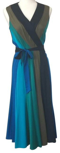 Item - Blue Black Brown Green Dvf Penelope Silk Color Wrap Mid-length Casual Maxi Dress Size 4 (S)