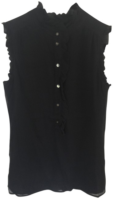 Item - Black Silk Sleeveless Ruffles Buttons Blouse Size 0 (XS)