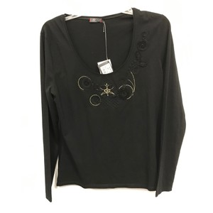 Dismero Longsleeve Scoop Neck Embellished Embroidered Italian T Shirt Black