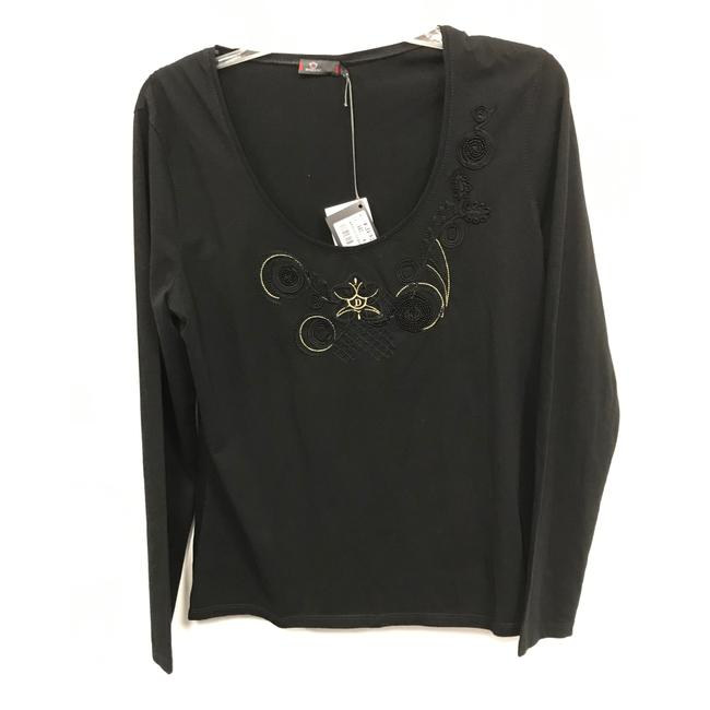 Item - Black Embroidered Scoop Neck Tee Shirt Size 16 (XL, Plus 0x)
