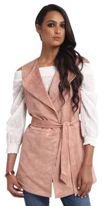 Cupio Belted Faux Suede Lapel Vintage Blush Jacket