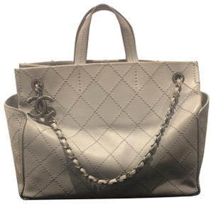 Preload https://item5.tradesy.com/images/chanel-gray-leather-tote-25990659-0-3.jpg?width=440&height=440