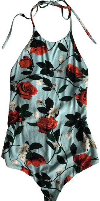Item - Light Blue and Red Floral Rose Bodysuit Halter Top Size 0 (XS)
