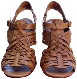 Tory Burch Leather Gold Tan Sandals