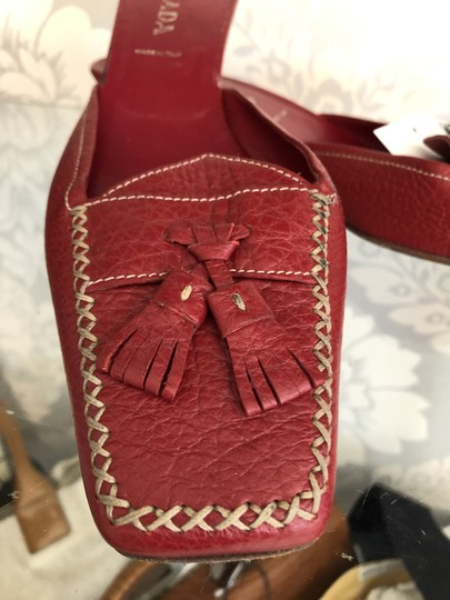 Prada Italy Leather Tassel Red Mules Image 1