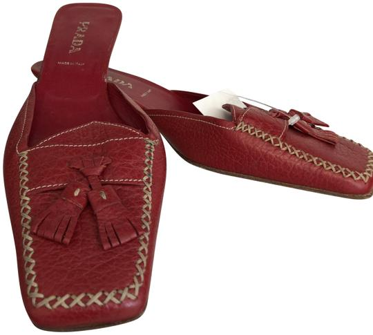 Prada Italy Leather Tassel Red Mules Image 0