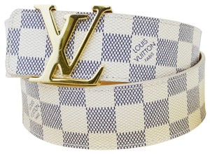 Louis Vuitton Authentic LOUIS VUITTON LV Ceinture Initial Belt Damier Azur