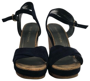 Stuart Weitzman navy blue Wedges