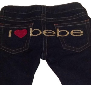 Bebe Jeans Heart Sexy Red Gold Boot Cut Flare Pants