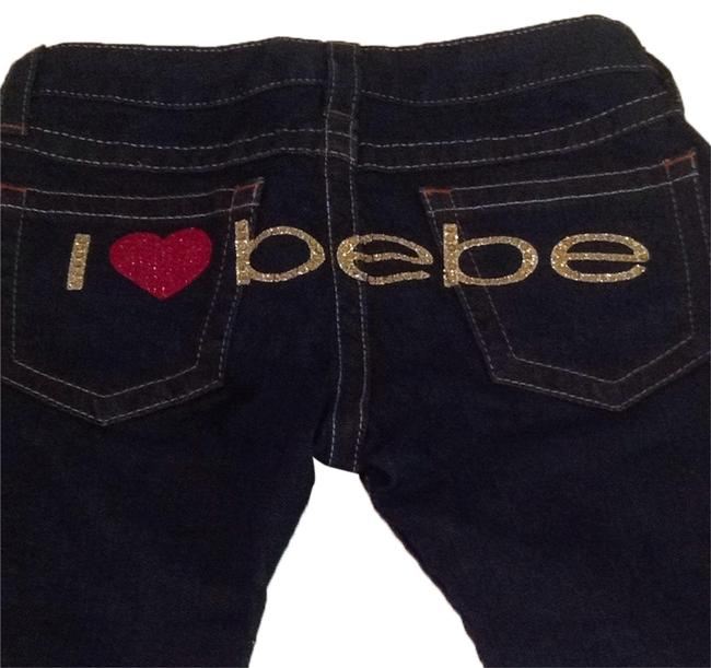 bebe Jeans Heart Red Gold Flare Pants Image 0
