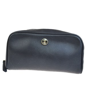 Chanel CHANEL CC Cosmetic Pouch Hand Bag Leather