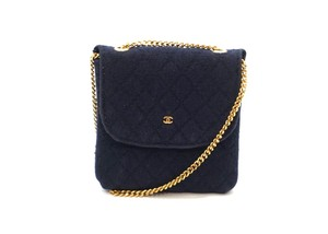 Chanel Micro Jersey Quilted Mini Bag Pouch Necklace
