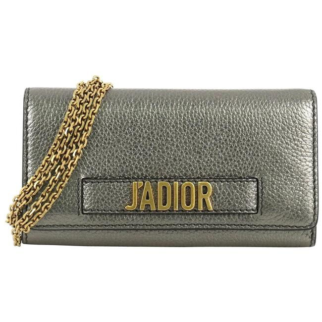 Item - J'adior Croisiere Chain Wallet Gray Leather Cross Body Bag