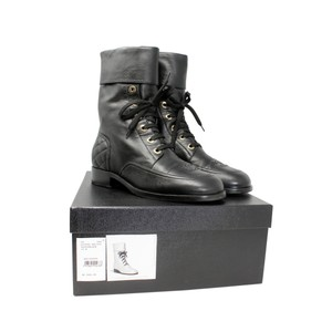 Chanel Lambskin Lace Combat Quilted Black Boots