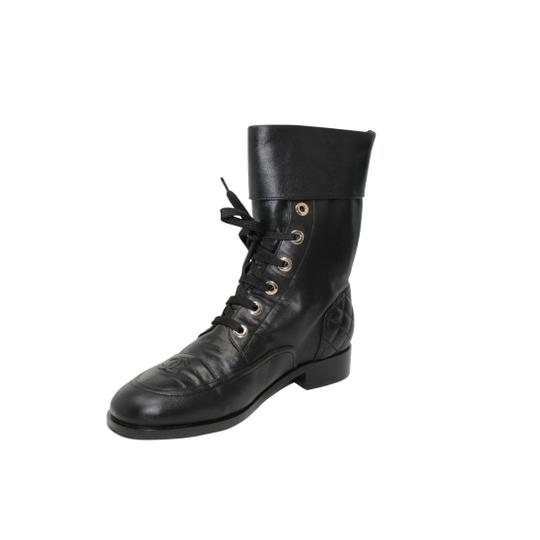 Chanel Lambskin Lace Combat Quilted Black Boots Image 1
