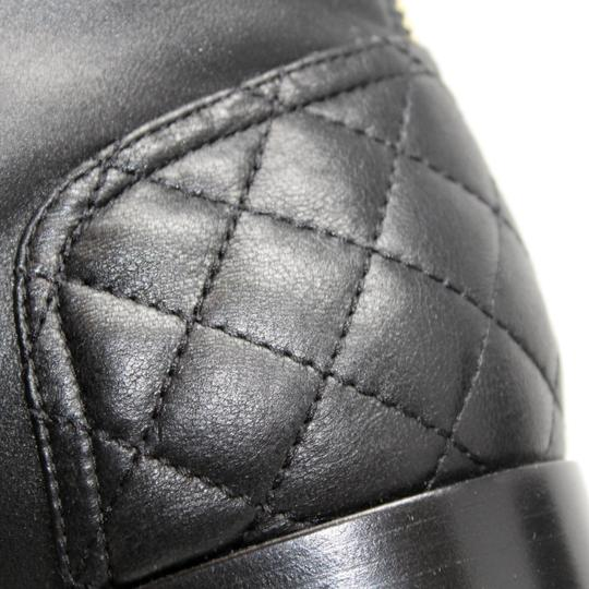 Chanel Lambskin Lace Combat Quilted Black Boots Image 10