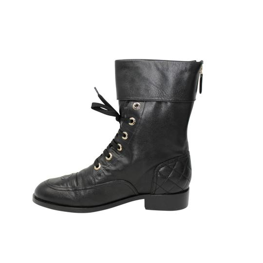 Chanel Lambskin Lace Combat Quilted Black Boots Image 2