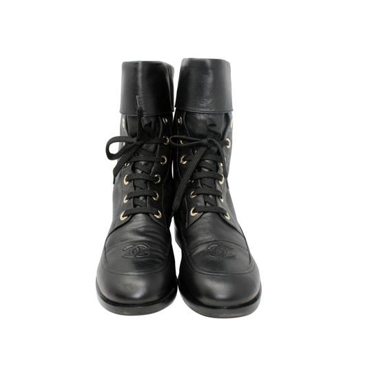 Chanel Lambskin Lace Combat Quilted Black Boots Image 3